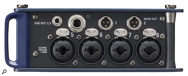 As with most location recorders of a similar form factor, all sides of the Zoom F8 are adorned with controls, inputs and outputs, and in this case it includes eight mic inputs with individually switchable phantom power.