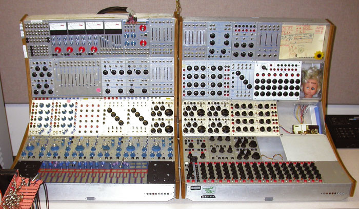A rack of monosynth modules