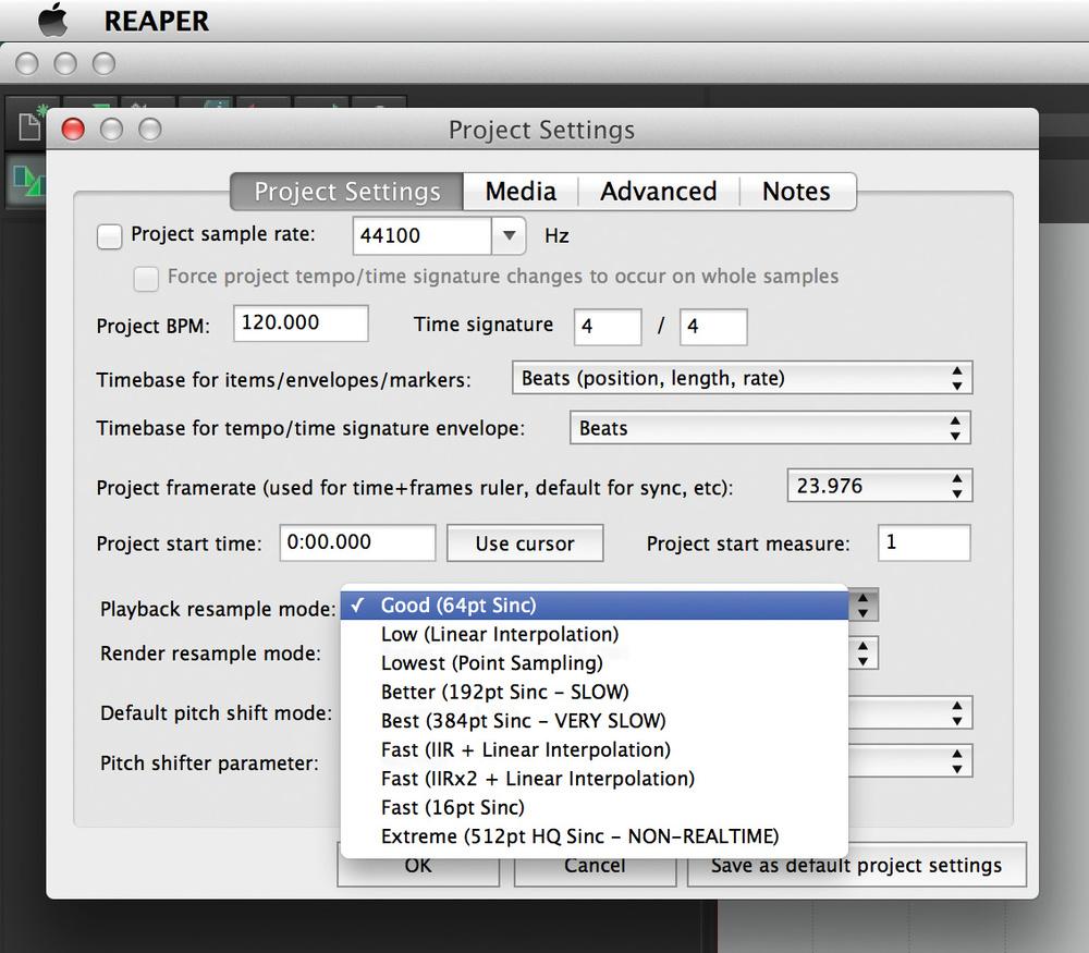 Q. Can you explain Reaper's Playback Resample mode? |