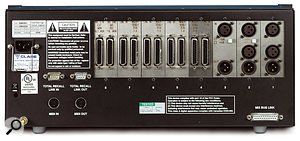 The rear panel of the X-Rack. As well as the inputs and outputs of the various modules, there is MIDI in and out, a pair of 9-pin D-sub sockets for daisy chaining Total Recall data between multiple X-Racks and AWS900 consoles, and a 25-pin D-sub socket for the internal Mix bus.