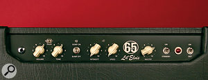 The chicken head‑style controls are on the top panel of the Lil Elvis. The Master dial controls the output levels via power‑scaling, so that you can get abig sound and alower level.