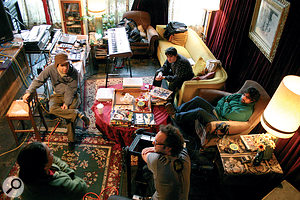 Animal Collective at Sweet Tea Studios with Ben Allen (centre, back to camera) and Sweet Tea's Liza Smith. From left: Dave Portner aka Avey Tare, Noah Lennox aka Panda Bear, Brian Weitz aka Geologist.