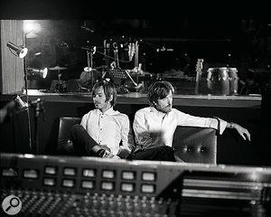 Jean‑Benoît Dunckel (left) and Nicolas Godin, behind the Trident desk in their Atlas Studio.