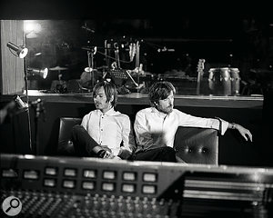 Jean‑Benoît Dunckel (left) and Nicolas Godin, behind the Trident desk in their Atlas Studio.