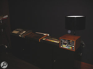 A selection of vintage drum machines: from left, Linn 9000, Linn Drum, Roland TR909 and CR78.