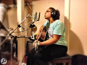Alabama Shakes singer Brittany Howard tracks vocals and guitar, using a Neumann U87 and Electro-Voice 635 dynamic mic respectively.