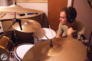 At the time when Alabama Shakes recorded their album, The Bomb Shelter was located in aseries of rooms in Andrija Tokic's house. Here, Steve Johnson tracks his drum kit.