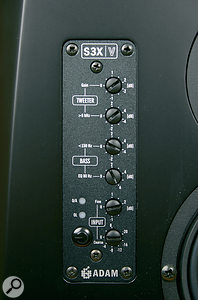 Part of Adam's design philosophy seems to be to keep the controls on the front, where they're more accessible. Here you can see the controls used to adjust the input gain, and to tweak the voicing of the speakers to suit their position and the room.