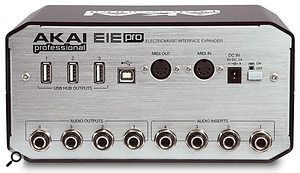 The EIE Pro's rear panel features four audio outputs and four audio inserts on quarter-inch sockets, three powered USB ports, a USB B port for connection to your computer, MIDI I/O sockets, an input for the external power supply and an on-off switch.