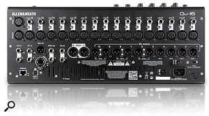 The QU16 has 16 mic/line inputs and 12 analogue outs, with the dSnake Ethernet socket letting you supplement the local I/O with Allen & Heath's range of digital stage boxes.