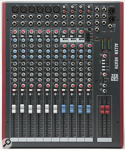 A channel strip from the ZED14, which includes a very musical three-band EQ. The mid-frequency control covers a wider range than on most similar mixers, which gives you plenty of control over those often-problematic low-mids.