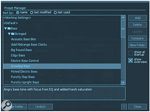 A new preset manager helps to navigate the 200  presets.