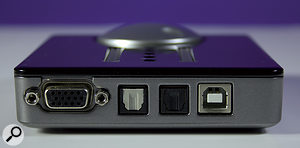 The Nanoface's back panel features a D-Sub connector for the breakout cable, optical I/O ports and a USB 2 port.