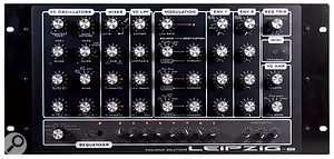 The front panel features clearly demarcated sections and widely-spaced knobs. The verybottom section is given over entirely to thesequencer.