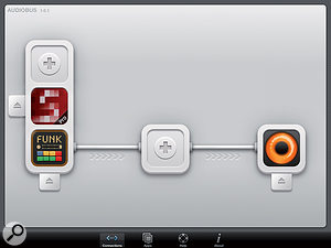 Funkbox and Soundprism Pro as Audiobus inputs, Loopy HD as output.