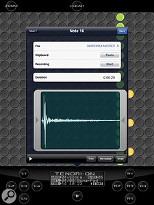 TNR-i allows you to sample via your iOS device's built-in microphone.