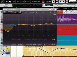 Auria's Edit screen with an instance of FabFilter's bundled Pro Q EQ plug-in running in the foreground.