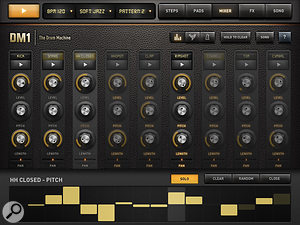 DM1's mixer, showing automation of hi-hat pitch at the bottom.