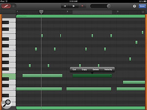 GarageBand's Note Editor is perhaps the most successful implementation to date of apiano-roll editor for iOS.