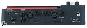 The iTrack Dock's back panel features an external PSU input and switch, a  USB A  port for MIDI, quarter-inch monitor outputs, mic and line inputs on XLR and quarter-inch jack sockets and an additional instrument line in, also on a  quarter-inch jack socket.