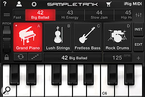 Sampletank Free is available for use with iRig MIDI, and has avariety of instruments built in to get you started.