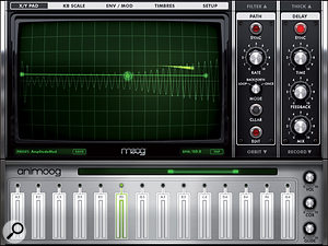 The monitor screen of Animoog can display many different parameters, and is attractive to look at as well as functional.
