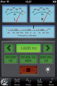 Audio Audit contains test tones at various fixed frequencies, as well as avariety of tone sweeps.