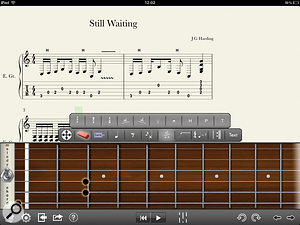 After only a few minutes with Progression, and with little experience of tablature, I'd already got some way through transcribing one of my own songs. The top-down fretboard view takes a while to get used to, though!