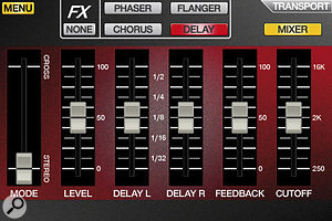 The SynthStation app interface includes touchscreen controls for the main synth parameters, including effects, shown here.