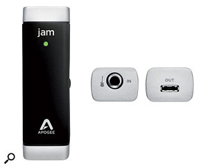 The Apogee Jam has a jack input for guitar and a single USB port that sends digital audio to the host device. Audio output is handled by the host.