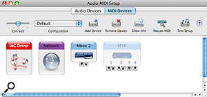 The MIDI Devices tab of Audio MIDI Setup shows MIDI devices available to Core MIDI applications. Notice how the MT4 device appears fainter than the other devices, which indicates that it's currently disabled.