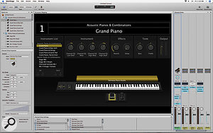 Main Stage's Edit mode allows you to create and manage Patches and Sets. Notice that the Inspector is showing the settings for the selected Software Instrument Channel Strip.