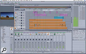 Soundtrack Pro's single–window interface. Here the program is playing an included demo project.