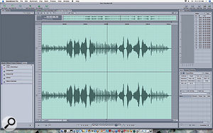 Soundtrack Pro offers a  fully–featured Waveform Editor. Note the Action List in the bottom left of the window, which shows the processing tasks that have been carried out on the current Clip.