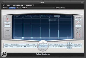 Delay Designer's intuitive interface makes it easy to program complex–sounding delay effects.