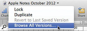 Some version's features are controlled via a new title-bar pop-up menu.