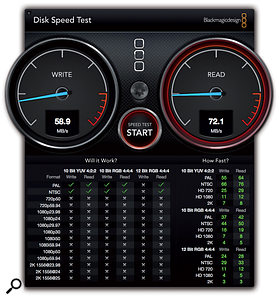 The results for Black Magic Design's Disk Speed Test on a MacBook Pro (left) and th