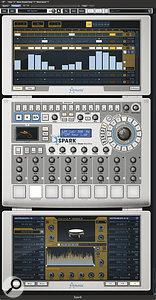 Two screens from the software that forms part of the Spark system: at the top is the pattern editor (where the song editor can also be viewed), while the lower panel mimics the hardware controller's front panel and gives 'mouse access' to the same facilities.