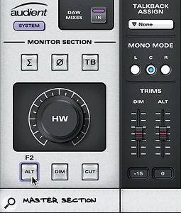 A closer look at the Master section of the ID22 Mixer. Hovering over the four functions reveals if they are mapped to one of the three function (F) buttons on the hardware. In this case, the F2 key switches playback to the alternative monitors. To the top right of the picture, adrop-down menu specifies which input should be used for the talkback microphone.