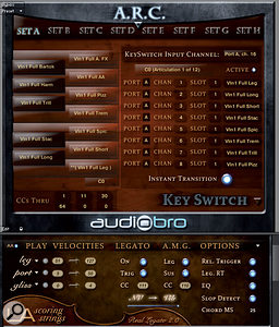 LASS 2.0's new Audiobro Remote Control (ARC) pages include global control of all loaded patches: any adjustment of a control on an ARC page causes the same change to occur in every patch. User‑definable keyswitch sets may be globally repositioned by adjusting the note displayed in the small window underneath the vertical 'keyswitch keyboard' graphic, to the left of the screen.