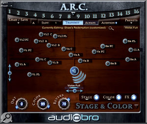 The new Stage &Colour page allows you to position your instruments in avirtualsurround setup, as well as choosing overall tonalcolour and reverbsettings for allyour patches.