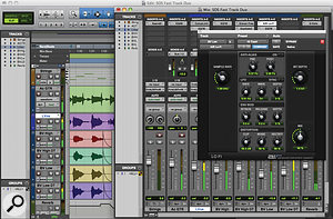 An audio recording project in Pro Tools Express. Editing with the Smart Tool is incredibly efficient and the user has access to custom fade shapes. The range of plug-ins includes the AIR Lo-Fi effect for distortion and sample-rate/bit-depth reduction.