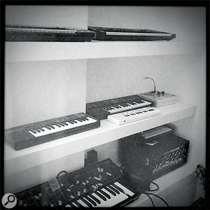 'Toy' instruments at Blanco's studio, including a Casio VL1, Indian harmonium, Suzuki Omnichord, a ukulele and a child's glockenspiel.