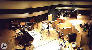 The large live area at Grand Victor Studios was designed to accommodate a  full symphony orchestra — as indeed it did for the recording of Ben Folds' piano concerto. This photo shows the setup used for recording the smaller yMusic ensemble, with 'booths' created from gobos.