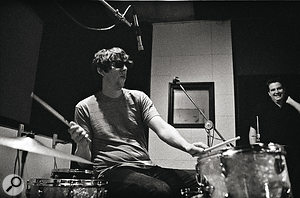 Neill used a characteristically minimal miking arrangement for Pat Carney's drum kit.