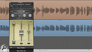 Bass Rider can provide transparent dynamic correction for electric, acoustic and synth basses. Here you can see a bass guitar part as played (top) and with Bass Rider's alterations bounced to create a new part (bottom).