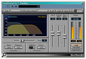 Bass-specific harmonic synthesizers (a form of enhancer) such as Waves' Maxx Bass and Renaissance Bass and Crysonic's newB (top) can trick you into thinking you can hear bass that isn't actually there.