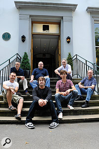 The remastering team readjust to daylight after their four‑year incarceration in Abbey Road Studios. From left (back): Simon Gibson, Sean Magee, Allan Rouse; (front) Guy Massey, Paul Hicks, Sam Okell and Steve Rooke.