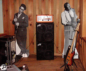 The setup used to record Becker's bass at Avatar Studios, with an Orange head through an Aguilar cab.