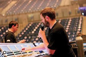 Adlib's Richy Nicholson at the Liverpool Echo Arena.